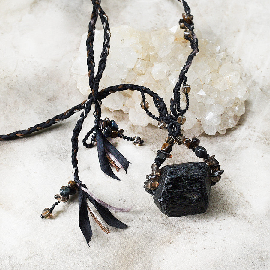 Black Tourmaline stone talisman with Smokey Quartz, Hawk Eye & Bronzite