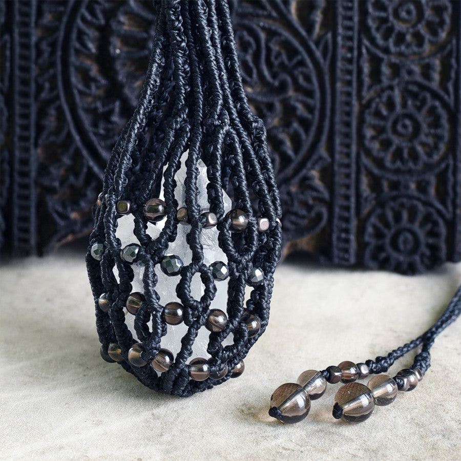 Crystal Pod necklace, black cord ~ for carrying loose crystals