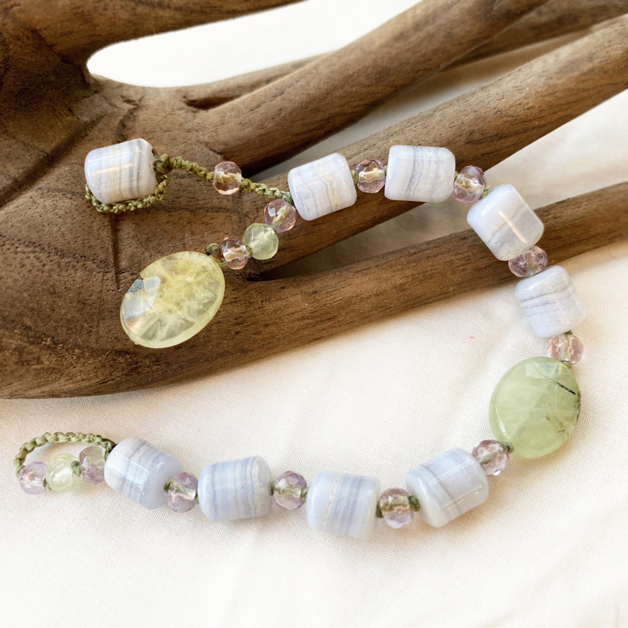 Crystal healing bracelet in pastel tones ~ for wrist size up to 6.25