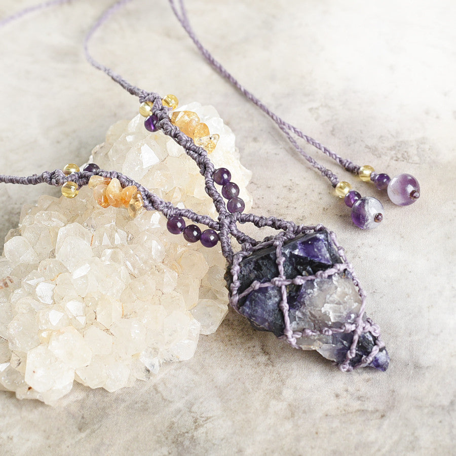 'Higher Alignment' ~ Blue John Fluorite crystal amulet with Amethyst & Citrine