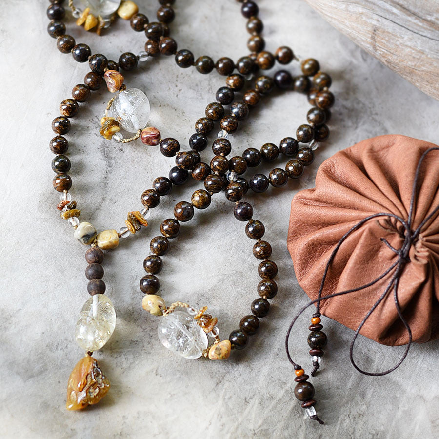 Bronzite mala with Citrine, Crazy Lace Agate, Amber & Agarwood