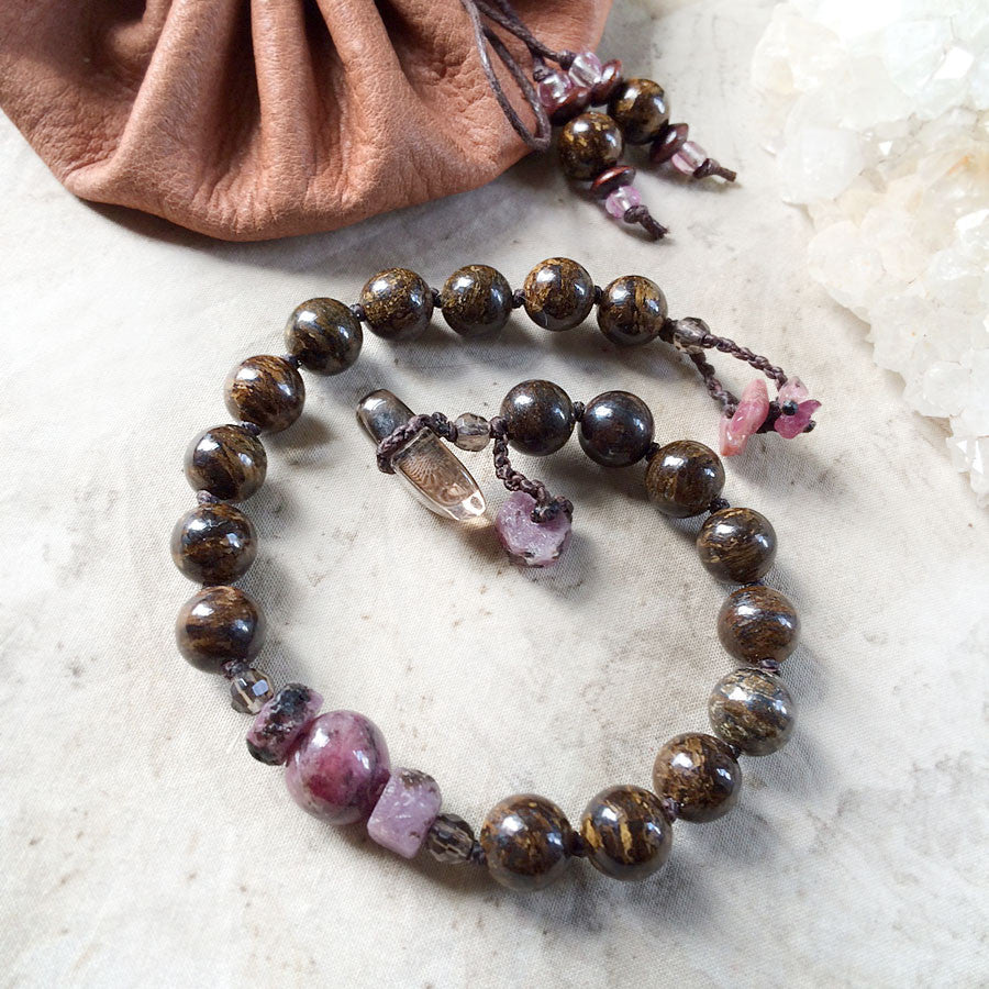 "Mala bracelet with Bronzite, Ruby, Rubellite & Smokey Quartz ~ for 6.5""-7"" wrist"