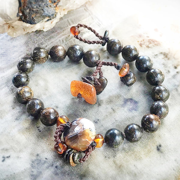 "Bronzite mala bracelet ~ up to 7.25"" wrist"