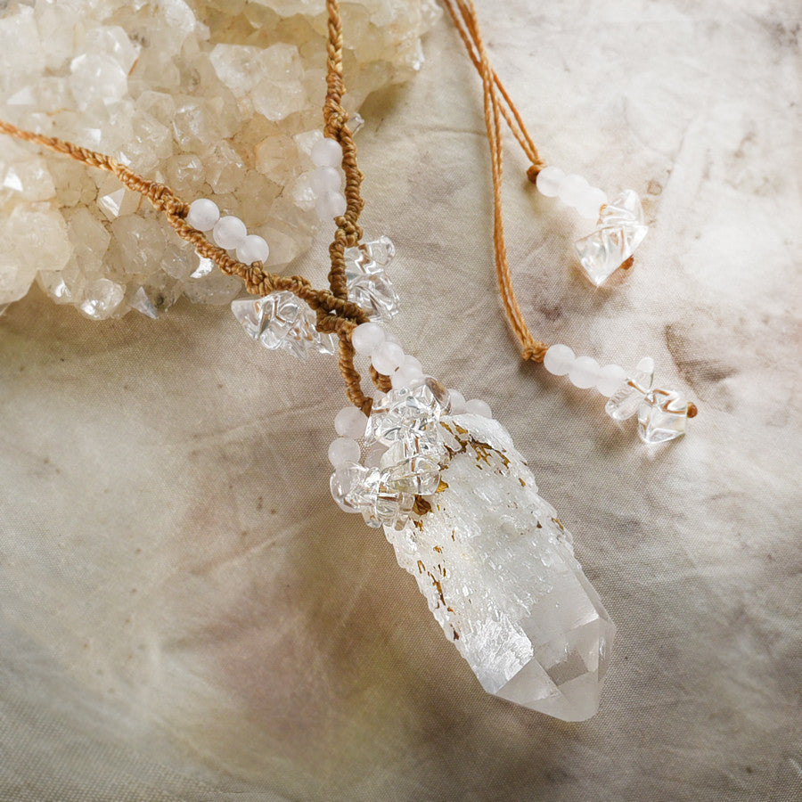 'Beam of Light' ~ Candle Quartz crystal amulet with Rose Quartz & clear Quartz