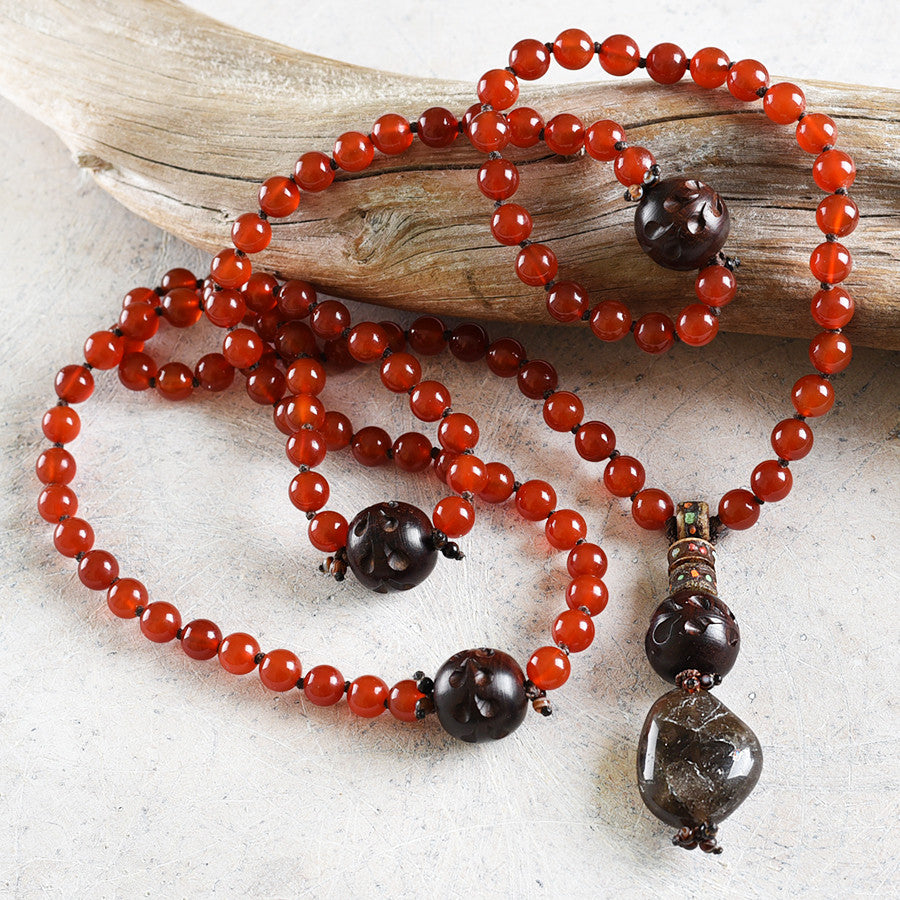 Carnelian gemstone mala with carved wood, Agate & Smokey Quartz