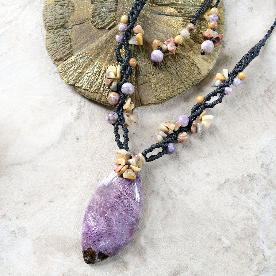Charoite crystal amulet with Crazy Lace Agate & Lepidolite
