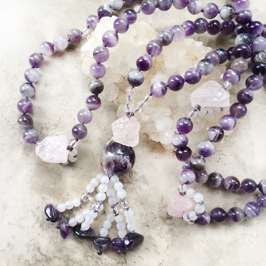 Chevron Amethyst mala with Rose Quartz & clear Quartz