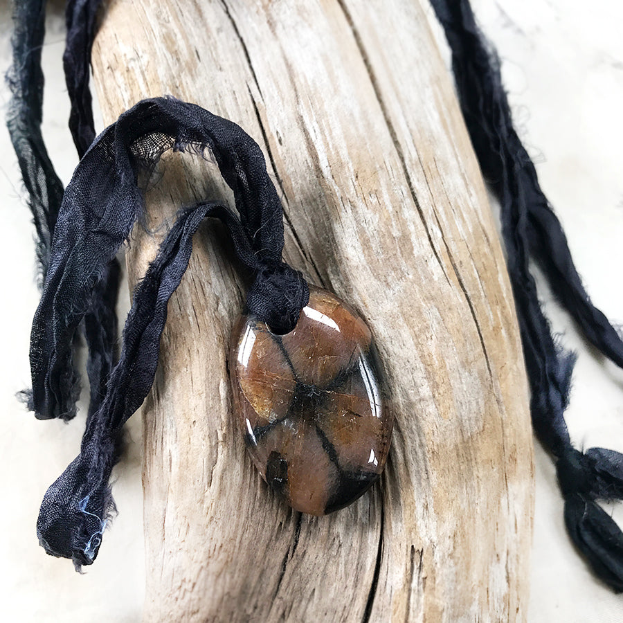 Talismanic Chiastolite crystal healing necklace with silk ribbon