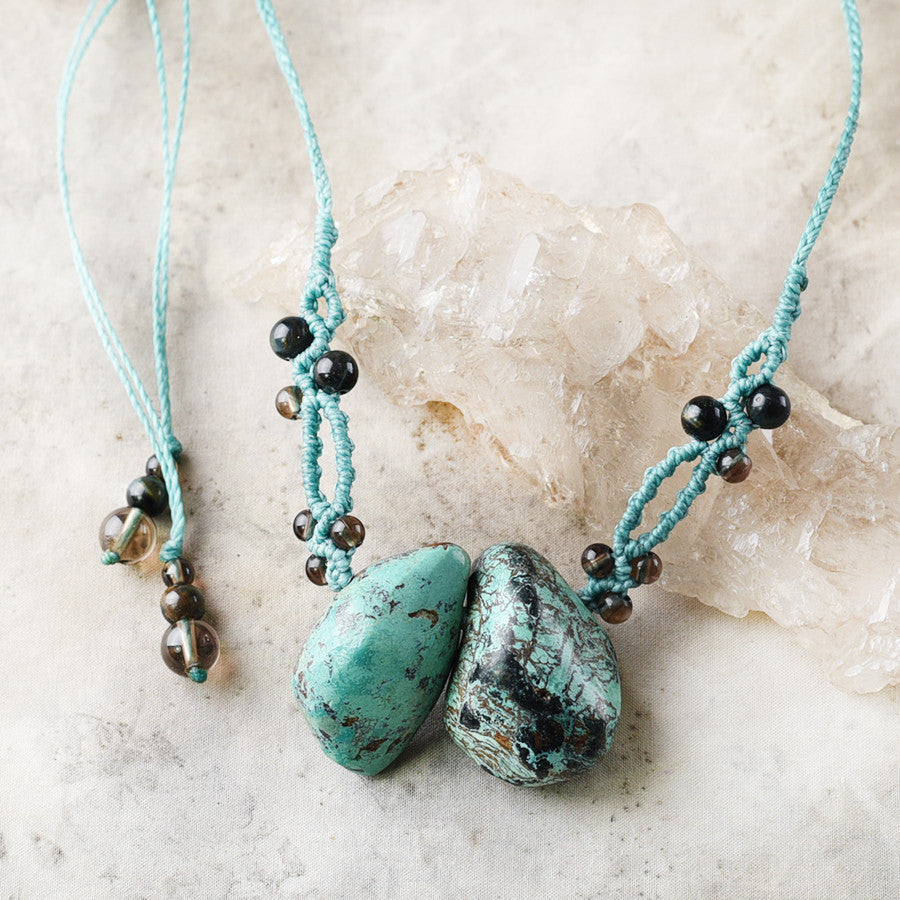 Crystal healing amulet with Chrysocolla