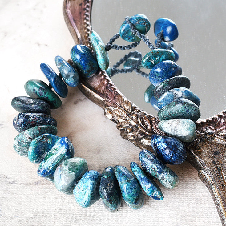 Crystal healing bracelet with Chrysocolla ~ for 7