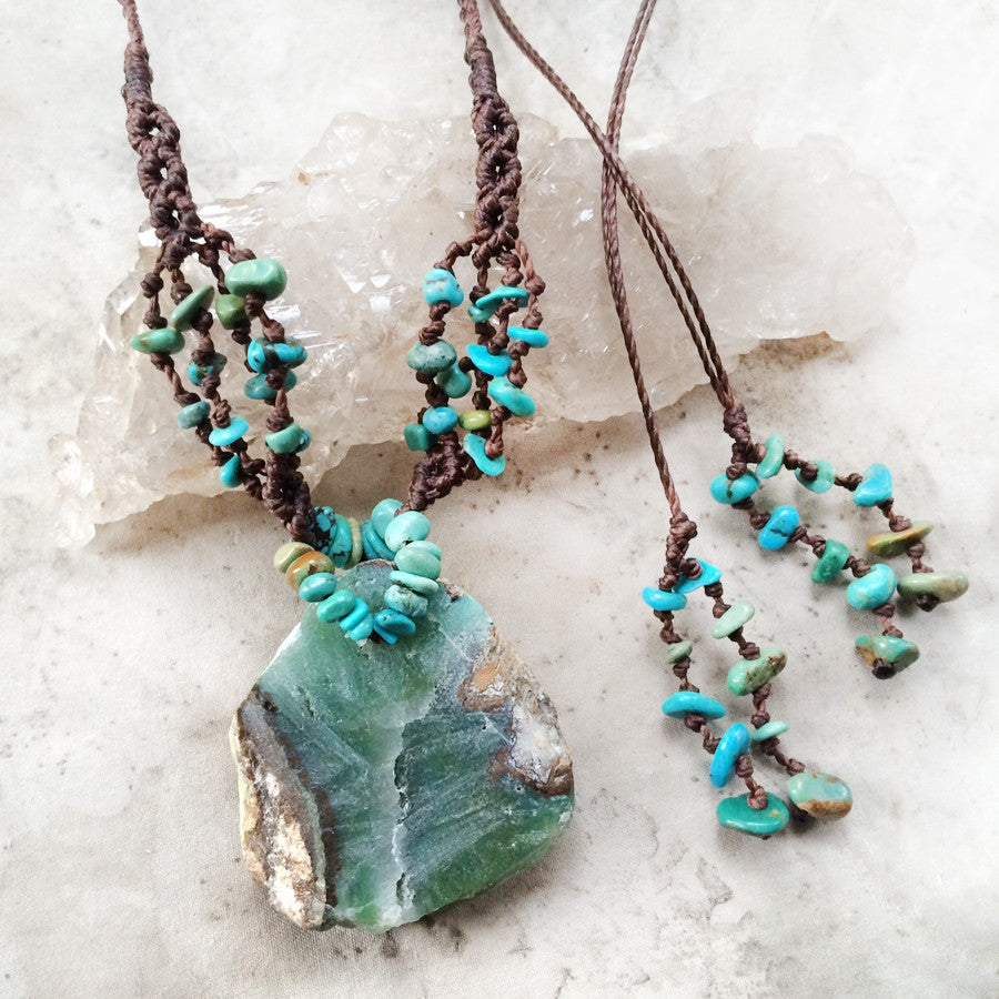 'Song of the Waves' ~ Chrysocolla crystal energy necklace with Turquoise