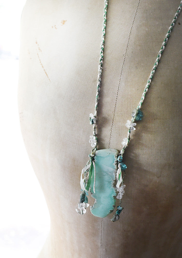 Chysoprase crystal healing amulet with Emerald, Apatite, African Turquoise Jasper & clear Quartz