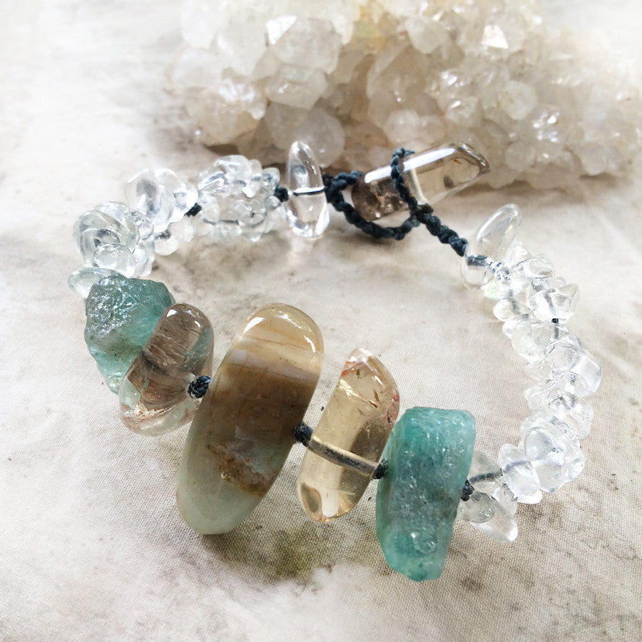 Crystal healing bracelet with Andean Blue Opal, Citrine, Apatite & clear Quartz ~ for wrist size 6.5