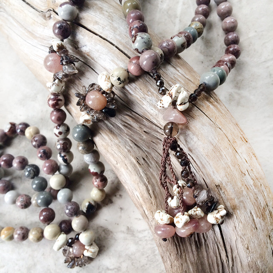 GIVE-AWAY WINNER'S CHOICE ~ Jasper mala with Muscovite, Magnesite & Smokey Quartz