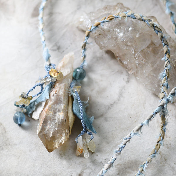 Natural Congo Citrine talisman with Blue Fluorite & Gold Rutile Quartz in silk & cotton braid necklace