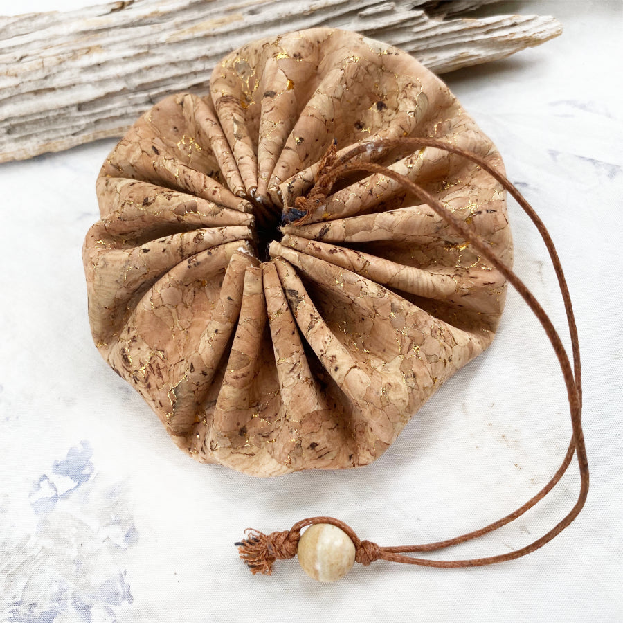 Drawstring cork pouch for carrying tiny treasures ~ size MEDIUM (gold)