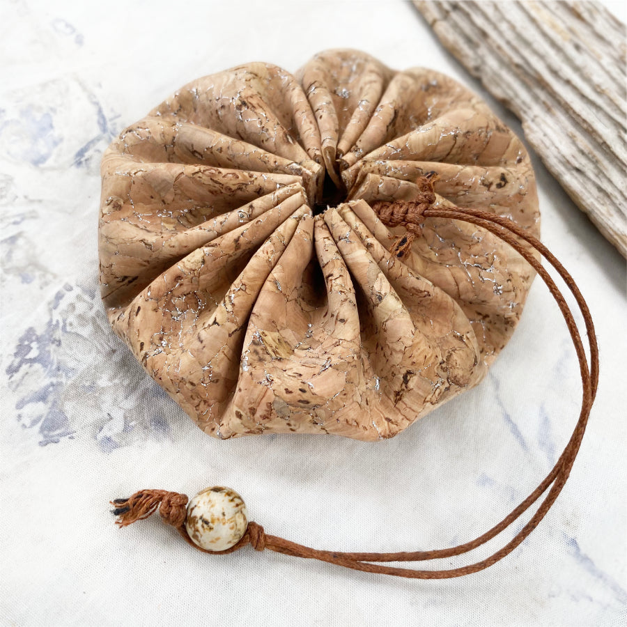 Drawstring cork pouch for carrying tiny treasures ~ size MEDIUM (silver)