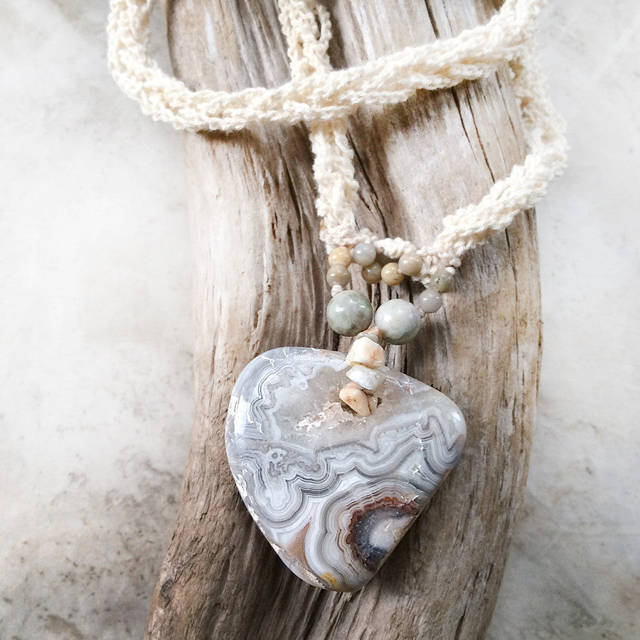 'Destiny's Map' ~ Crazy Lace Agate crystal healing amulet with Peace Jade