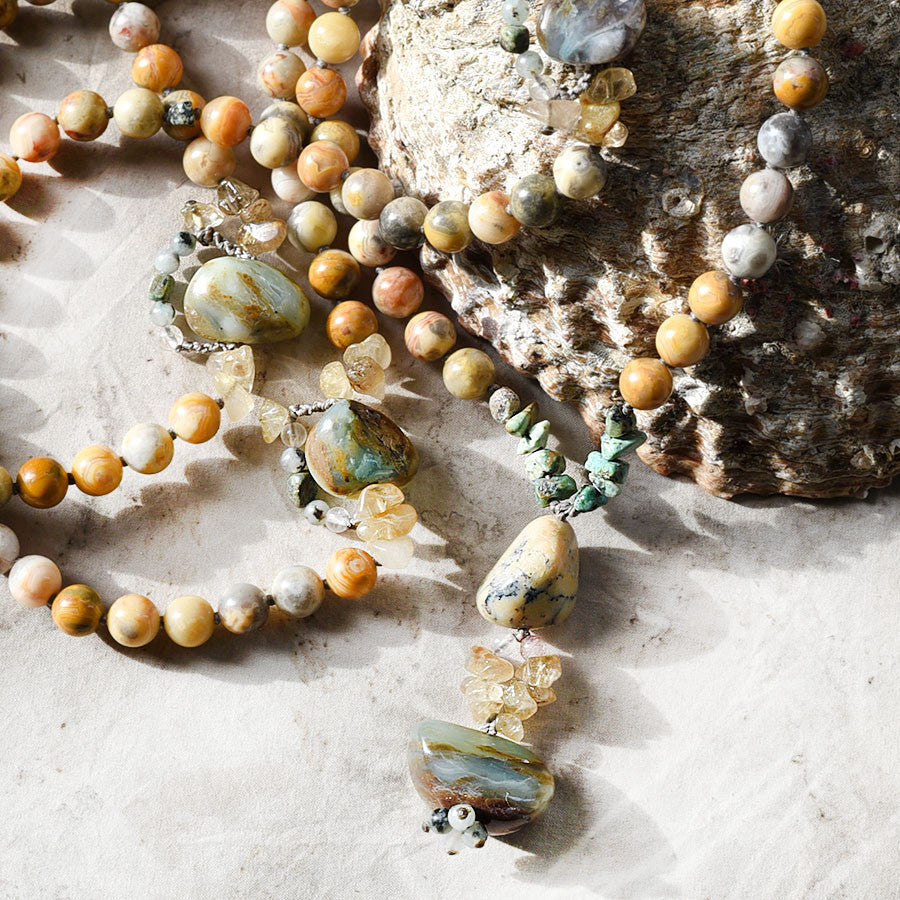 Crazy Lace Agate mala with Andean Blue Opal, Merlinite, Gold Rutile Quartz & African Turquoise Jasper