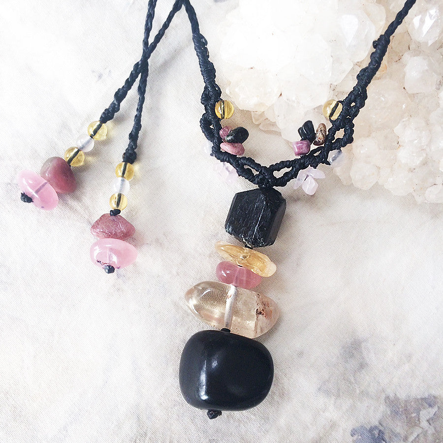 Crystal cairn amulet with Jet, Citrine, Black Tourmaline, Rose Quartz & Rubellite