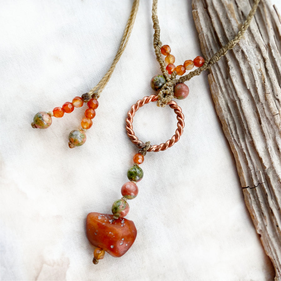 Sacred cubit tensor ring necklace with Carnelian & Unakite