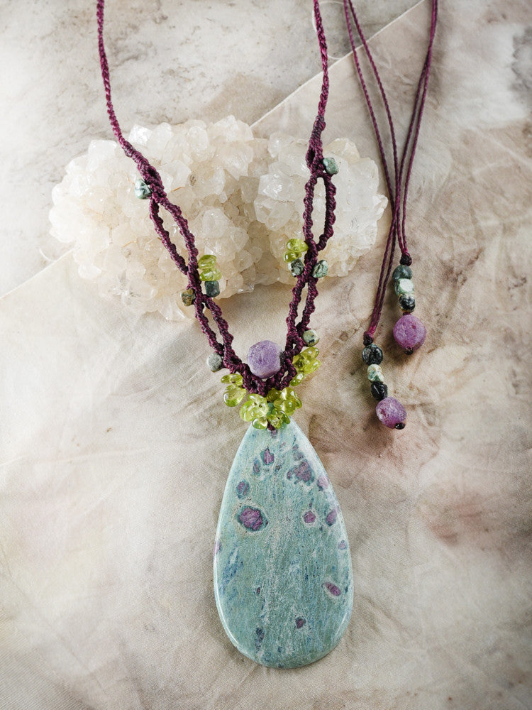 'Secret Garden' ~ Ruby in Fuchsite crystal amulet with Peridot, African Turquoise Jasper & raw Ruby