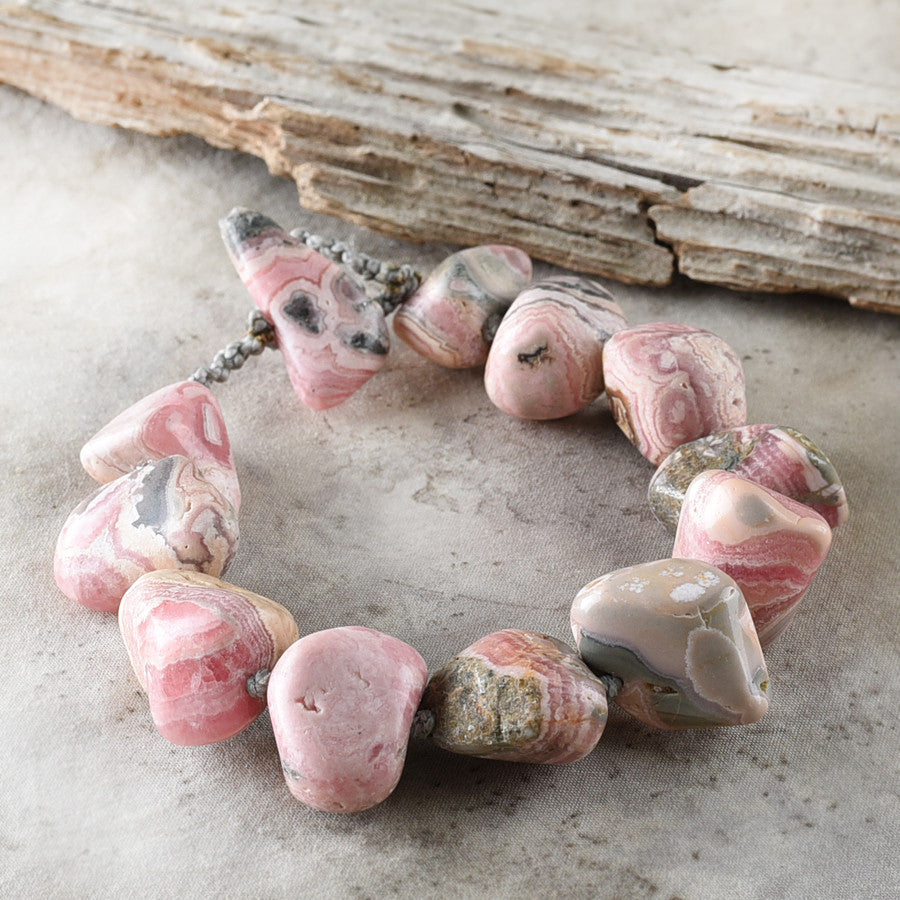 "'Peaceful Path' ~ Rhodochrosite crystal healing bracelet (for wrist size 6.5"")"