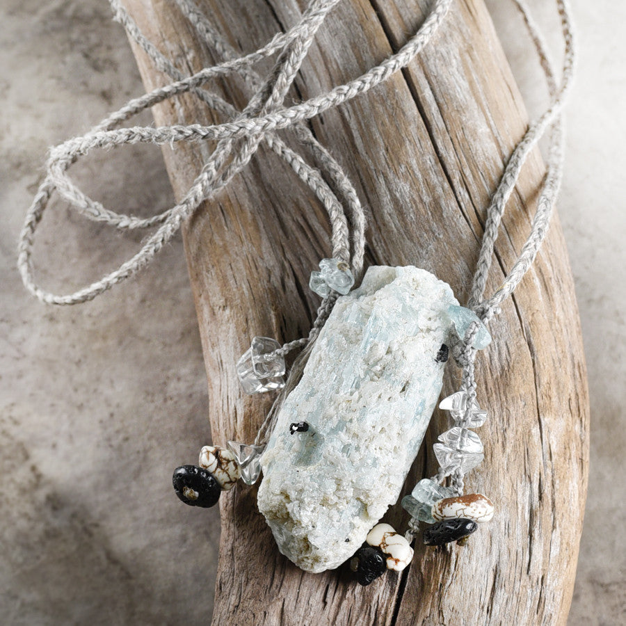 'Earth, Air, Fire, Water' ~ stone talisman with Aquamarine, Lava Stone, Magnesite & clear Quartz