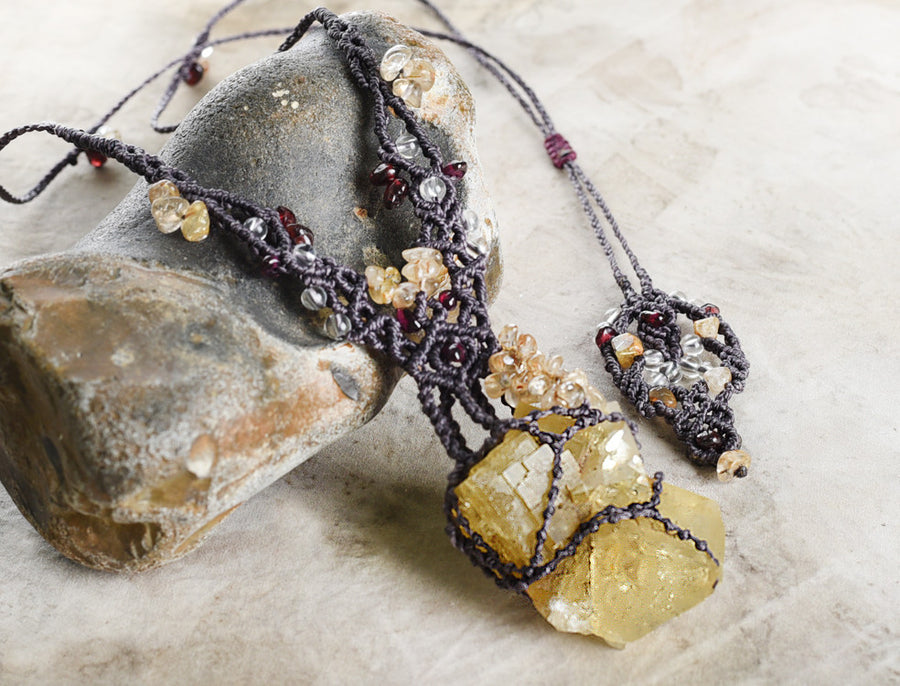 'Golden Insight' ~ Yellow Fluorite crystal amulet with Gold Rutile Quartz & Almandine Garnet