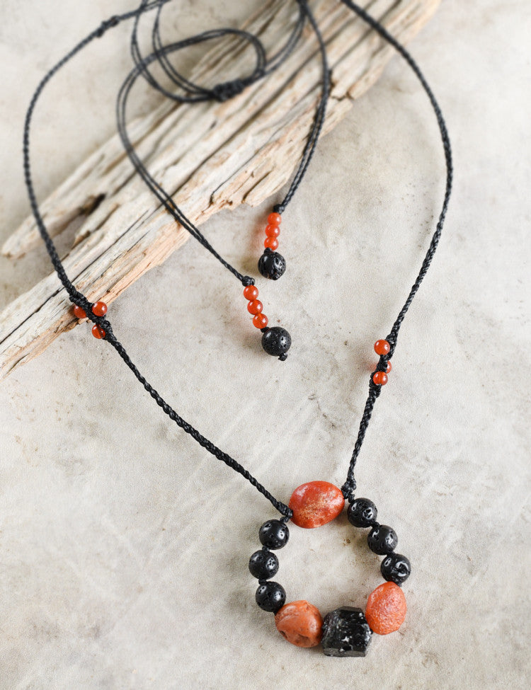 Crystal healing amulet with Black Tourmaline, Carnelian & Lava Stone