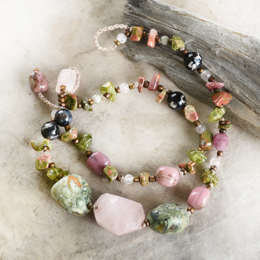 "Crystal healing double wrap bracelet in green & pink tones ~ for up to 6.75"" wrist"
