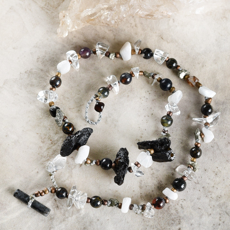 "Crystal healing double wrap bracelet in black and white tones ~ for up to 6.75"" wrist"