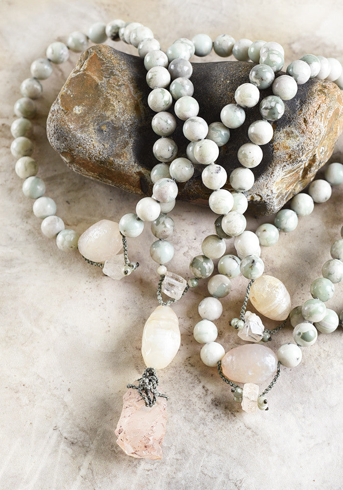 Peace Jade mala with Agate, Topaz & Nirvana Quartz