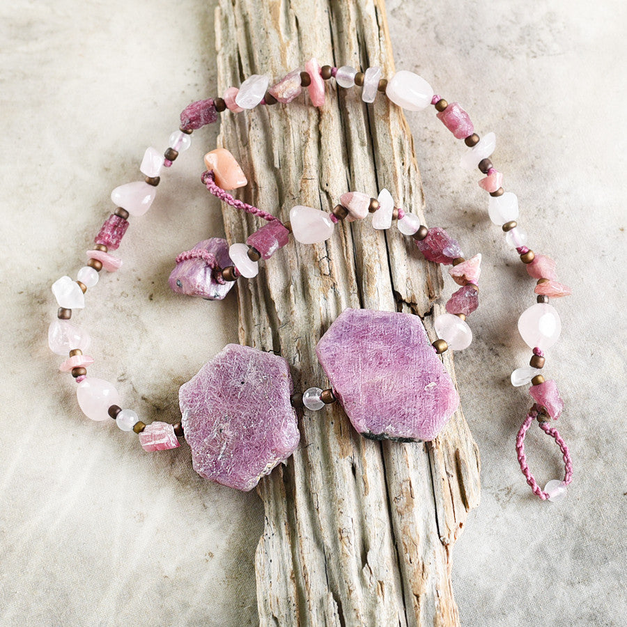 "Crystal healing double wrap bracelet in pink tones, with Ruby ~ for 6.5"" wrist"