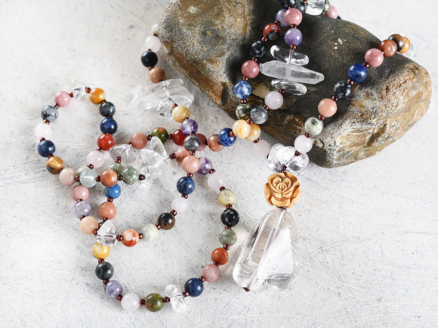 Gemstone mala with several gems combined with clear Quartz