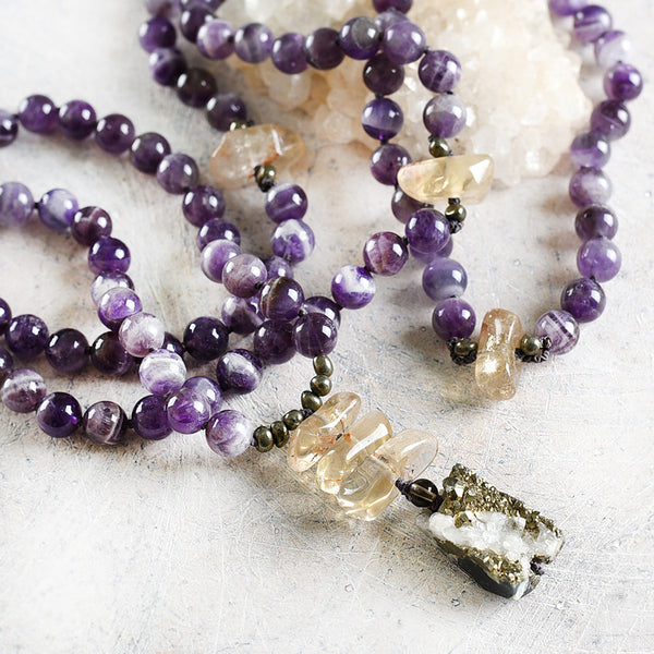 Chevron Amethyst mala with Pyrite & Citrine