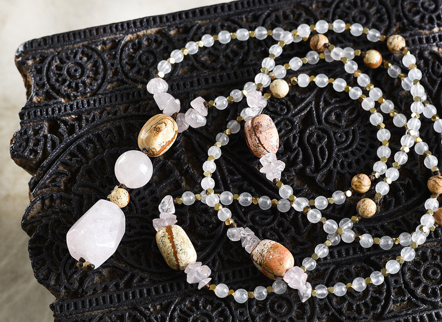 Miniature mala (full 108 bead) with Rose Quartz, Picture Jasper & Hematite
