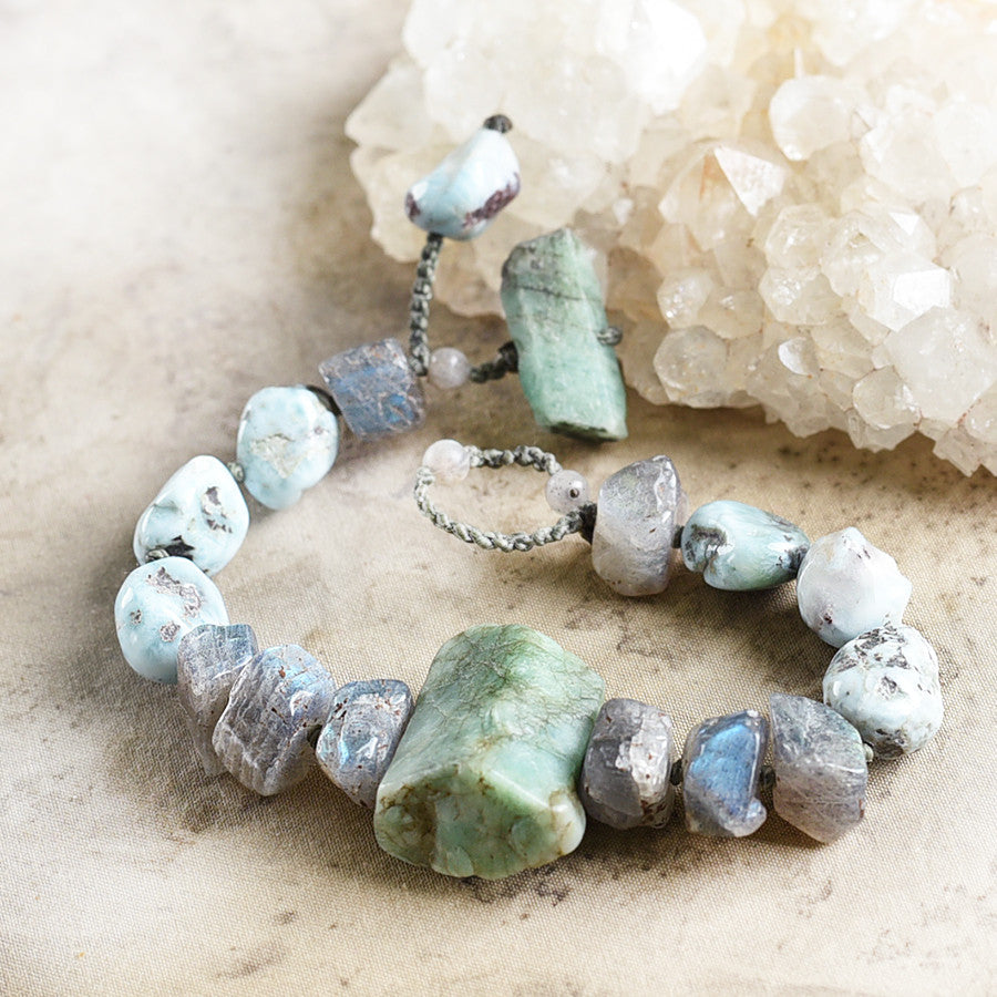 "Crystal healing bracelet with Emerald, Larimar & Labradorite ~ for 6"" wrist"
