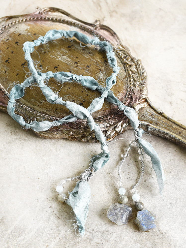 Silk lariat necklace with Labradorite, Aquamarine & clear Quartz