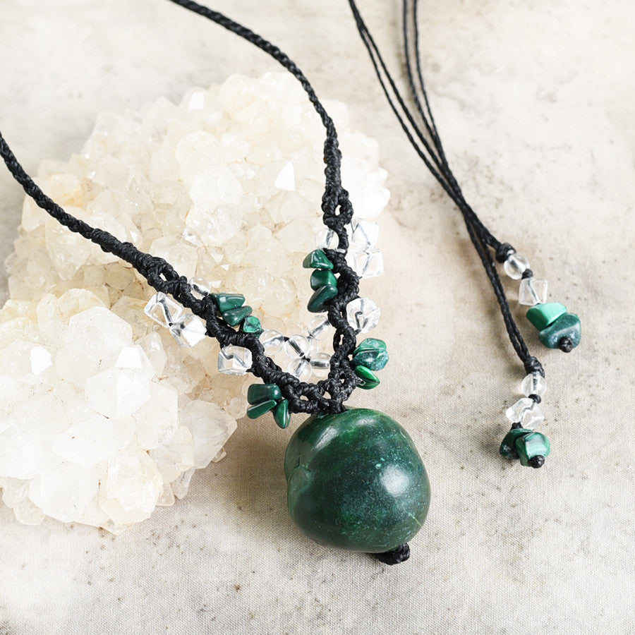 Malachite crystal amulet with clear Quartz