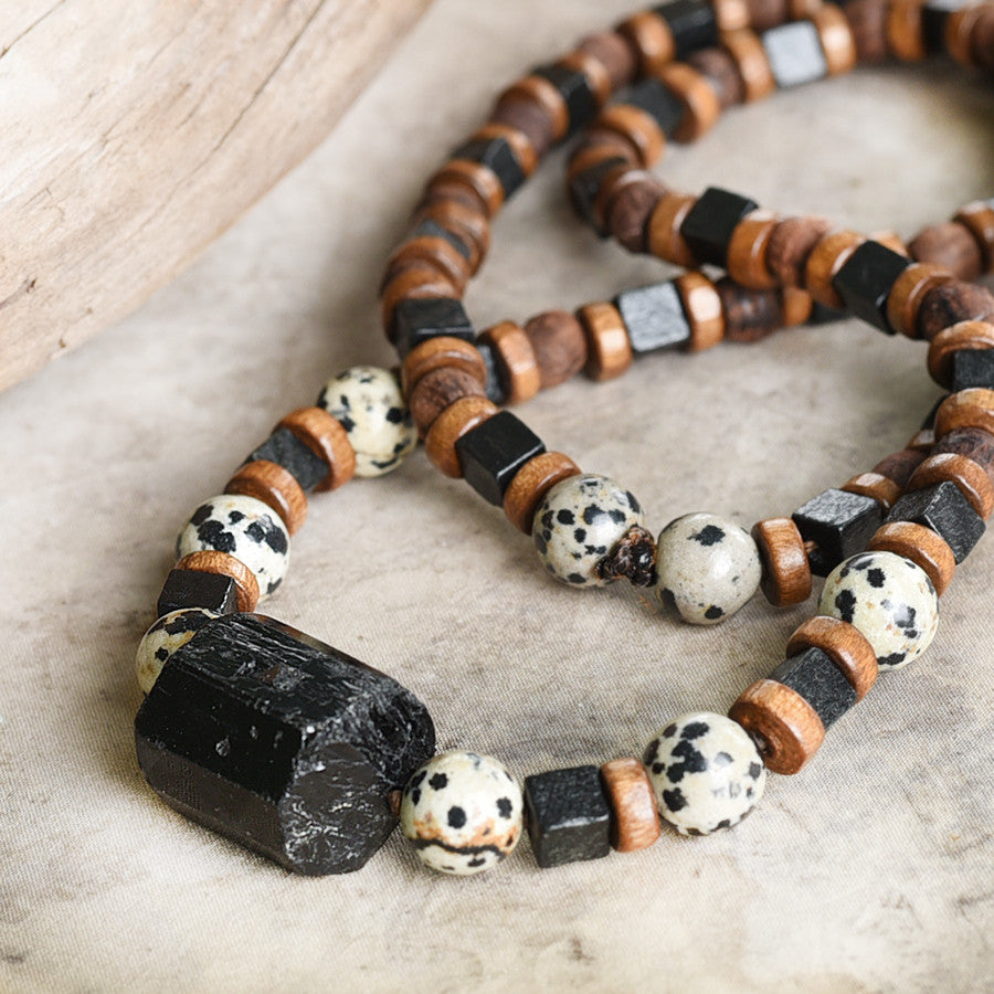 Stone talisman for men ~ with Black Tourmaline, Dalmatian Jasper & wooden beads