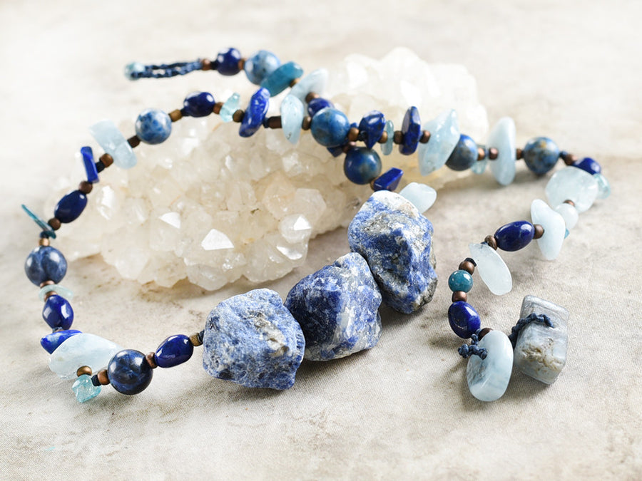 Crystal healing double wrap bracelet in blue tones ~ for 6.5