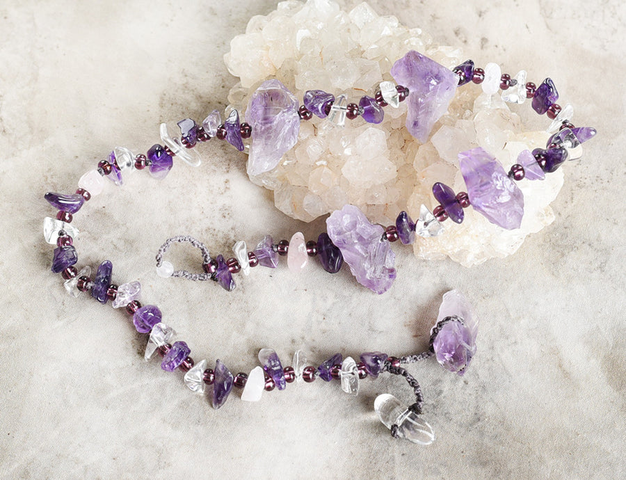 Amethyst crystal healing double wrap bracelet ~ for 6.5