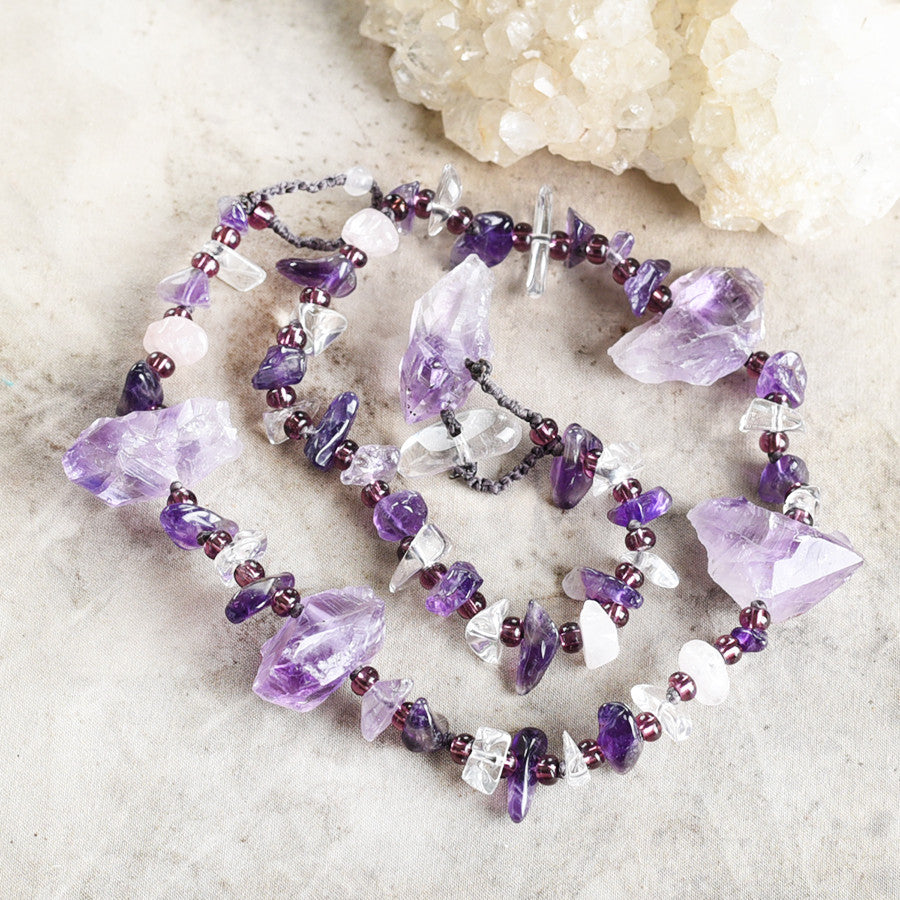 "Amethyst crystal healing double wrap bracelet ~ for 6.5"" wrist"