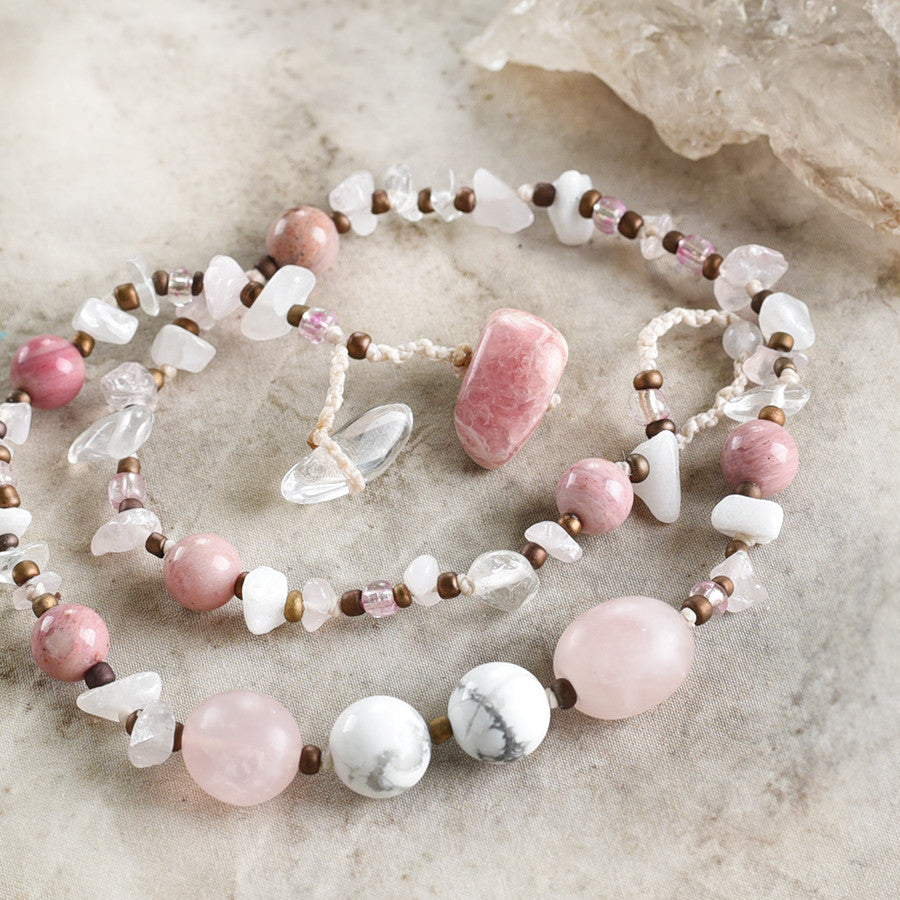 "Crystal healing double wrap bracelet in white & pink tones ~ for 6.5"" wrist"