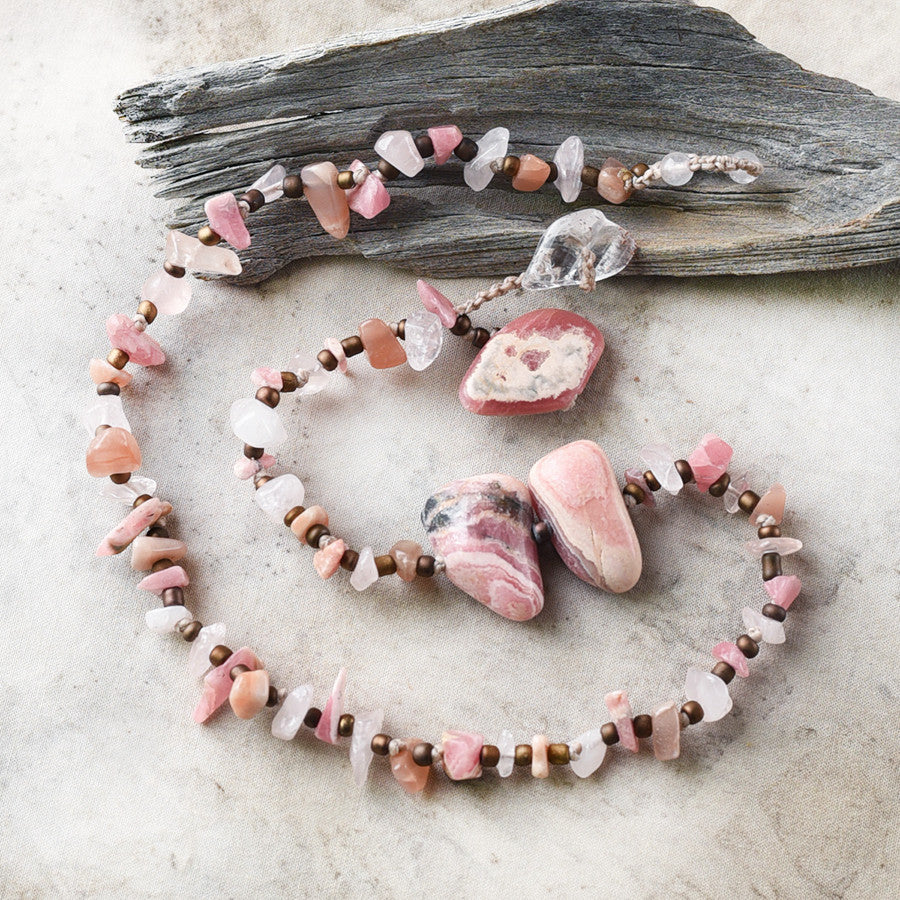 "Crystal healing double wrap bracelet in pink tones ~ for 6""-6.25"" wrist"