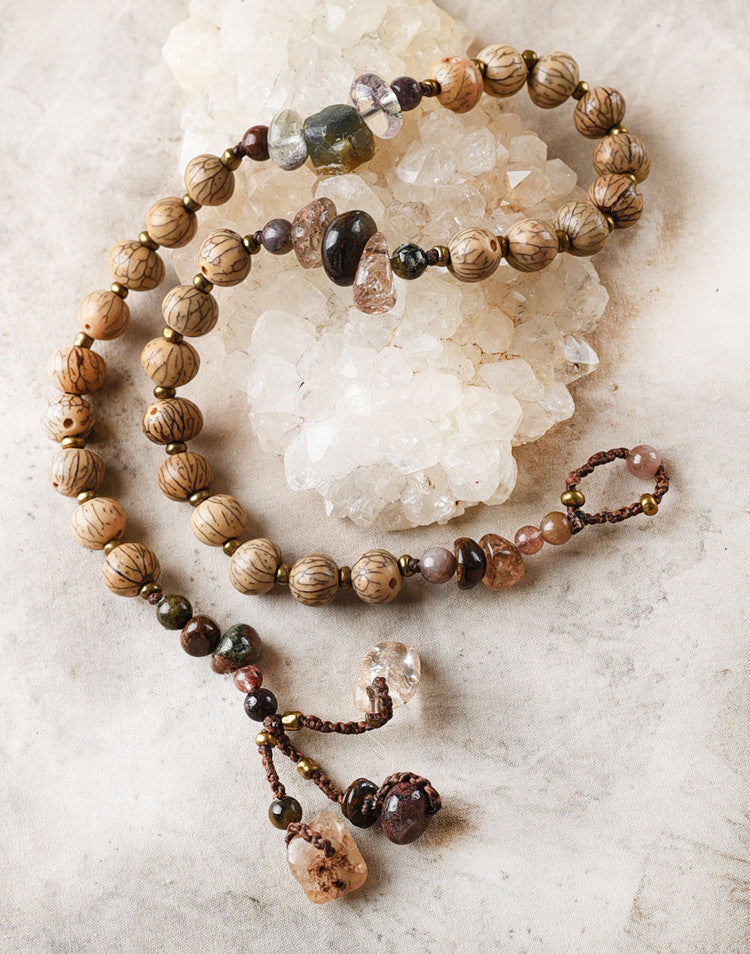 Mala double wrap bracelet with Bodhi seeds & brown tone crystals ~ for up to 6.5