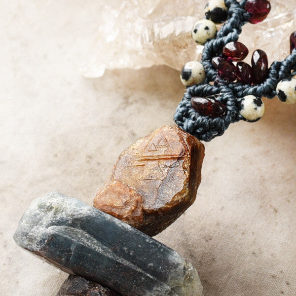 Crystal energy cairn amulet with record-keeper Sapphire, Kyanite & Garnet