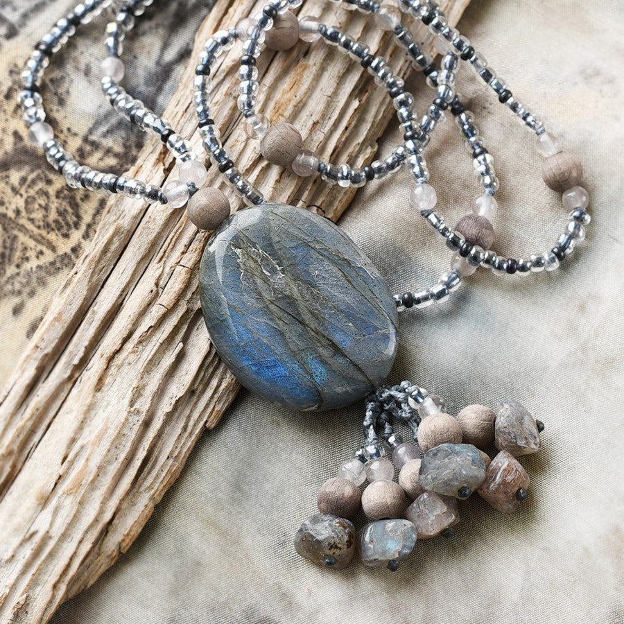 Labradorite crystal energy & aromatherapy necklace