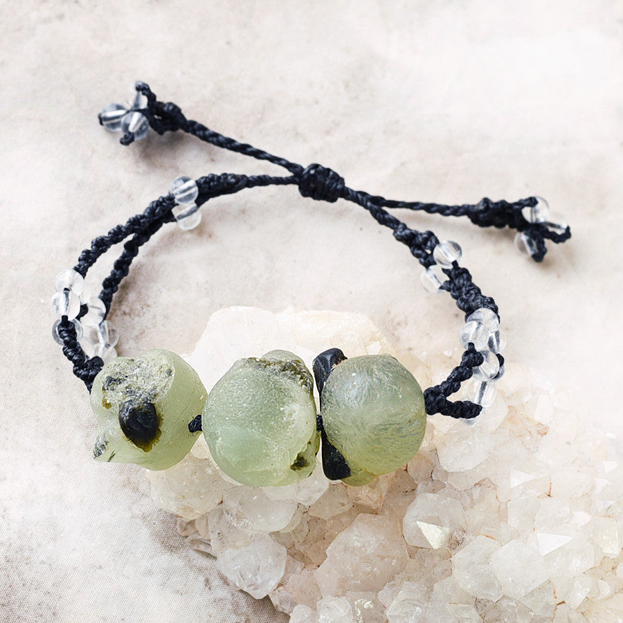 Crystal healing bracelet with Epidote in Prehnite & clear Quartz ~ all wrist sizes (adjustable)